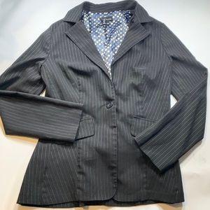 My Michelle Black Silver Pin Stripe Blazer Size 11